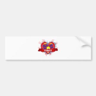Vintage I Love Tibet Bumper Sticker