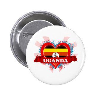 Vintage I Love Uganda Pinback Button