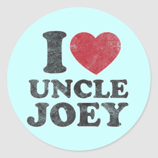 Vintage I Love Uncle Joey Classic Round Sticker
