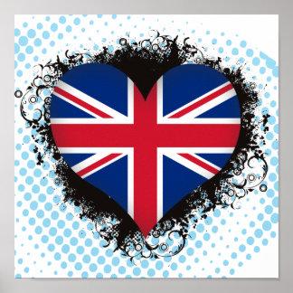 Vintage I Love United Kingdom Posters