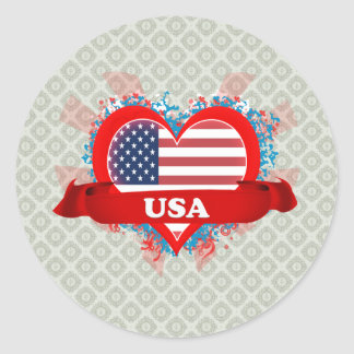 Vintage I Love Usa Classic Round Sticker