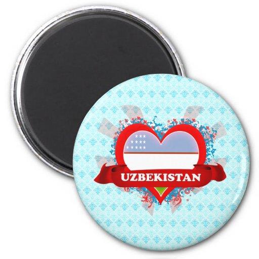 Vintage I Love Uzbekistan Fridge Magnet
