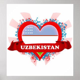 Vintage I Love Uzbekistan Poster