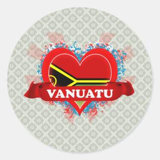 Vintage I Love Vanuatu Round Stickers