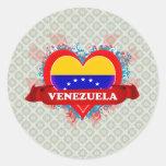 Vintage I Love Venezuela Round Stickers