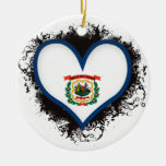 Vintage I Love West Virginia Ornaments