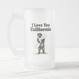 Vintage I Love You California Frosted Glass Beer Mug