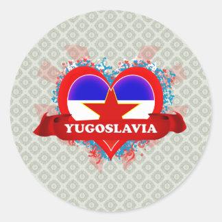 Vintage I Love Yugoslavia Classic Round Sticker