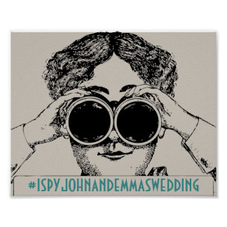 Vintage I Spy Wedding Social Media Hashtag Sign