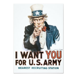 Vintage I Want You Army Poster 5x7 Paper Invitation Card