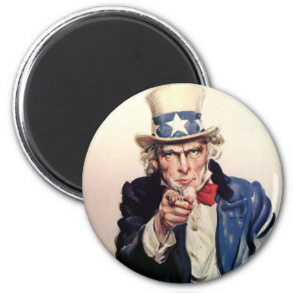"Vintage ""I Want You"" US Army Uncle Sam 2 Inch Round Magnet"