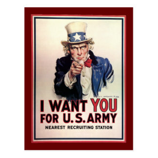 "Vintage ""I Want You"" US Army Uncle Sam Postcard"
