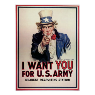 "Vintage ""I Want You"" US Army Uncle Sam Print"
