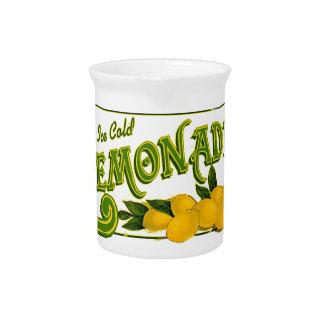 vintage ice cold lemonade sign pitcher