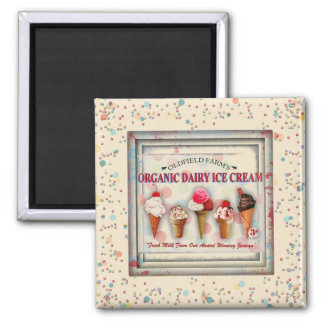 Vintage ice cream parlor sign magnet