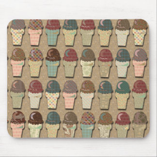 Vintage Ice Cream Pattern Mouse Pad