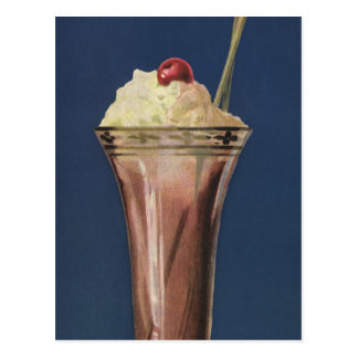 Vintage Ice Cream Shake, Whipped Cream & Cherry Postcard