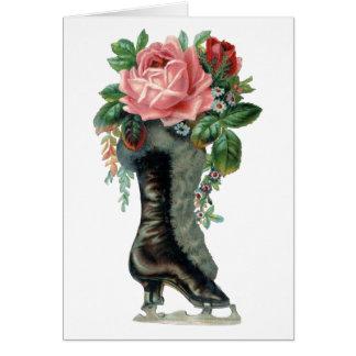 Vintage Ice Skates & Flowers Greeting Card
