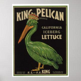Vintage Iceberg Lettuce Vegetables Crate Labels Poster
