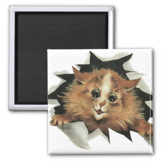 Vintage Icicle Cat is Watching You Gift Magnet