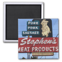 """Vintage Iconic Neon """"Stephen's Meats"""" Sign Magnet"""