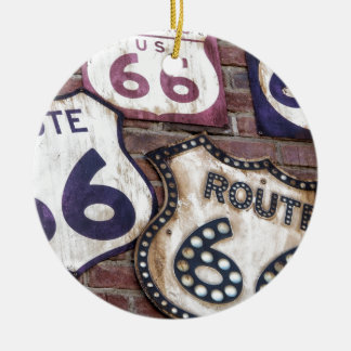 Vintage Iconic Route 66 Double-Sided Ceramic Round Christmas Ornament