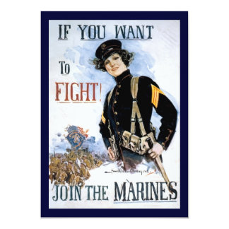 Vintage If you want to fight recruiting poster 5x7 Paper Invitation Card
