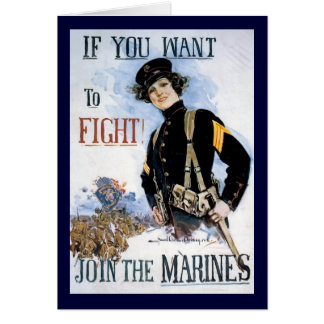 Vintage If you want to fight recruiting poster Greeting Card