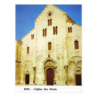 Vintage iglesia de Italia, Bari, San Nicolás Postal