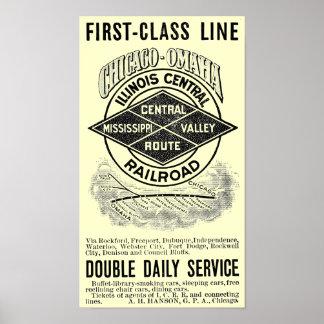 Vintage Illinois Central RR Poster