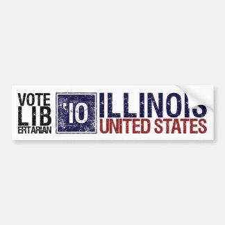 Vintage Illinois del libertario del voto en 2010 - Etiqueta De Parachoque