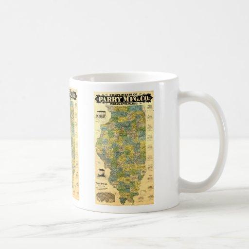 Vintage Illinois Map Coffee Mug