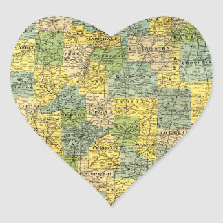 Vintage Illinois Map Heart Sticker
