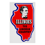 Vintage Illinois, país de Abe Lincoln Impresiones