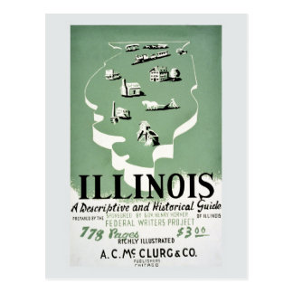 Vintage Illinois travel guide ad Post Card