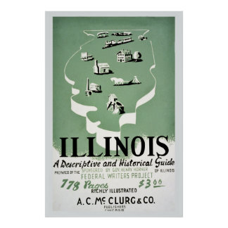 Vintage Illinois travel guide ad Poster