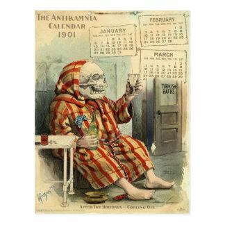 Vintage Illus. farmacéutico de /Skeleton del cráne Postal