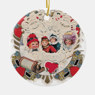 Vintage Illustrated Picture Double-Sided Ceramic Round Christmas Ornament
