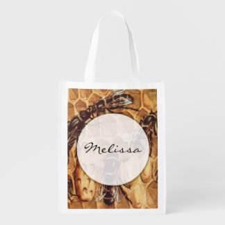 Vintage Illustration, Bees In A Hive Reusable Grocery Bag