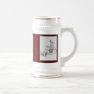 Vintage illustration -Bicyle delivery boy Beer Stein