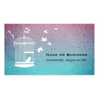 Vintage Illustration Bird in a Cage Double-Sided Standard Business Cards (Pack Of 100)