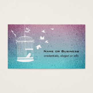 Vintage Illustration Bird in a Cage Business Card