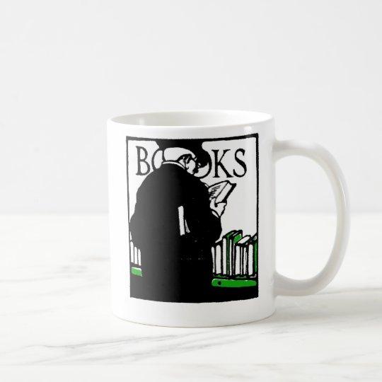 Vintage Illustration 'Books' Reading Coffee Mug