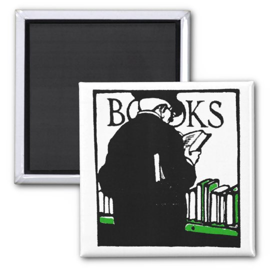 Vintage Illustration 'Books' Reading Magnet