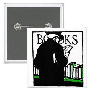 Vintage Illustration 'Books' Reading Pinback Button