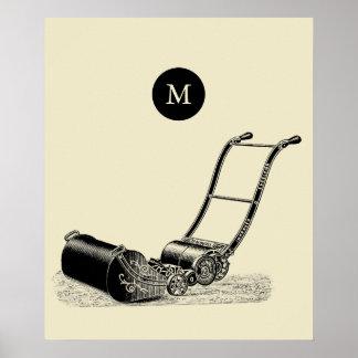 VINTAGE ILLUSTRATION British Lawn Mower Monogram P Poster