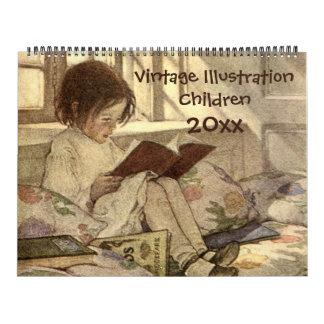 Vintage Illustration Children and Babies Calendar