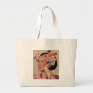 Vintage Illustration Chinese Woman Large Tote Bag