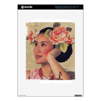 Vintage Illustration Chinese Woman Skins For iPad 3