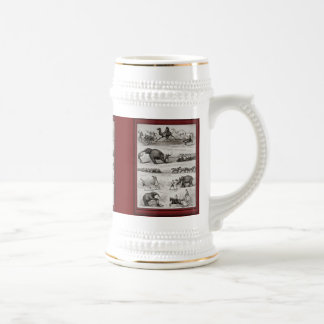 Vintage illustration - circus animals and bicycles 18 oz beer stein